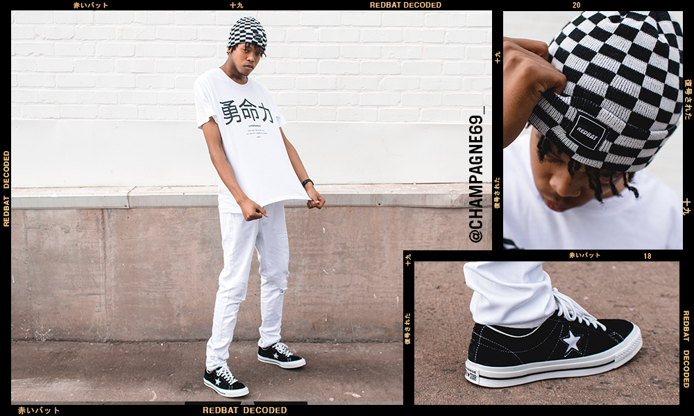 Champagne69 Redbat Racer Inspired Check Beanie Converse One Star